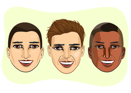 multiracial: set of multiracial  male avatar expressions isolated on green background Illustration