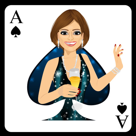 representing: attractive blonde woman representing ace of spades card from poker game