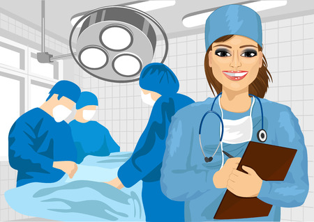 surgical nurse: attractive female surgical nurse in operating room holding clipboard Illustration
