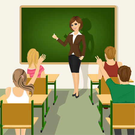 back view student: rear view of school lesson with students and teacher in classroom with green chalkboard