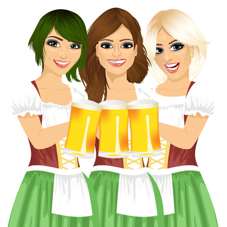 toasting: three beautiful waitresses holding beer mugs for oktoberfest party toasting