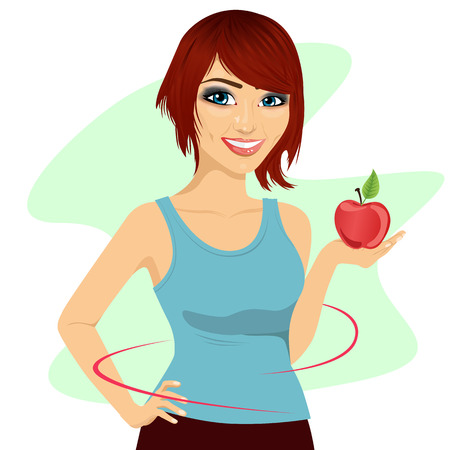woman eating: young woman holding a red apple showing thin waist -healthy diet concept