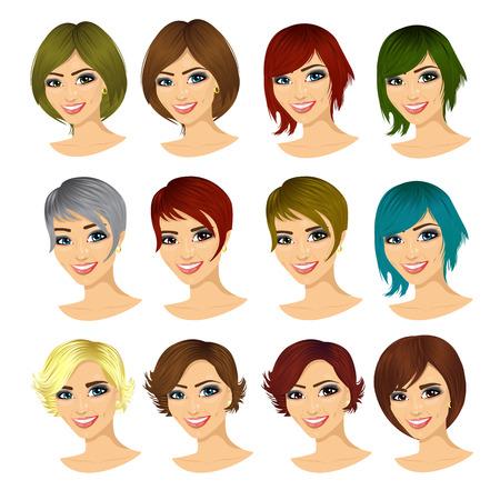 Ajuste de los jóvenes avatar mujer con diferentes cortes de pelo aislado en el fondo blanco Ilustración de vector