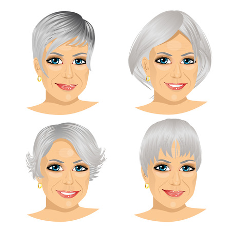 set of mature woman avatar with different hairstyles isolated on white background