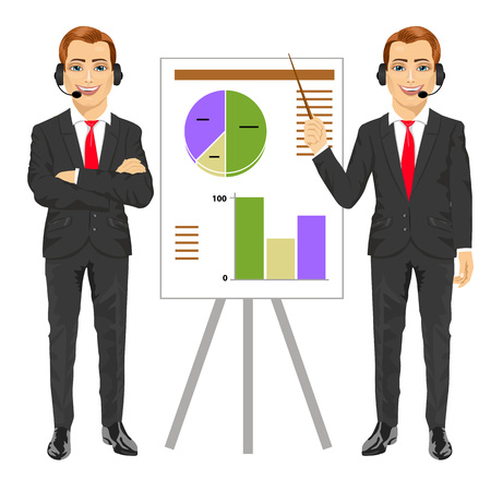 explaining: businessman standing near flip board pointing and explaining finances concept isolated over white background Illustration