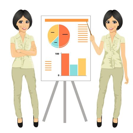 businesswoman standing: chinese businesswoman standing near flip board pointing and explaining finances concept isolated over white background