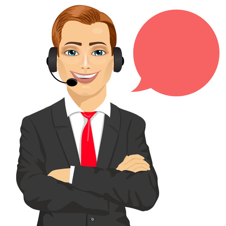 support phone operator: Portrait of happy smiling male customer support phone operator with arms folded and speech bubble