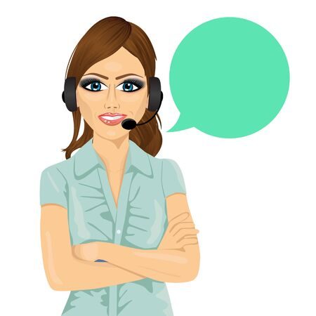 arms folded: Portrait of attractive female customer support phone operator with arms folded and speech bubble