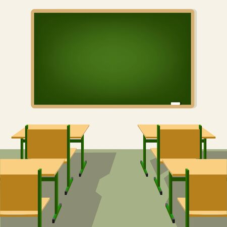 lecture hall: empty school classroom with blackboard, desks and chairs Illustration