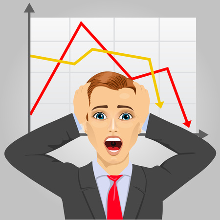 grabbing: portrait of young businessman grabbing his head in economic crisis with line graph showing negative trend Illustration