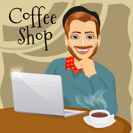 red haired: illustration of handsome red haired hipster man with laptop enjoying a hot coffee in coffee shop Illustration
