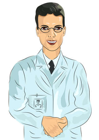 young male doctor: portrait of young male doctor with glasses standing with his hands clasped