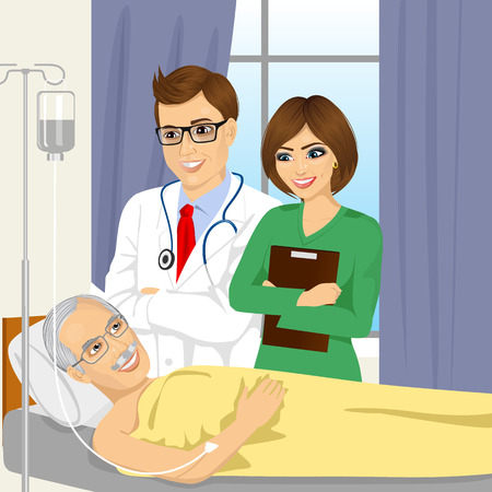 woman lying in bed: young male doctor and nurse visiting a senior old man patient lying down on hospital bed receiving intravenous Illustration