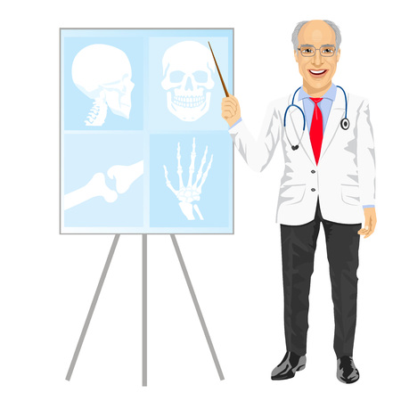 tomography: full length potrait of mature medical male doctor pointing on tomography