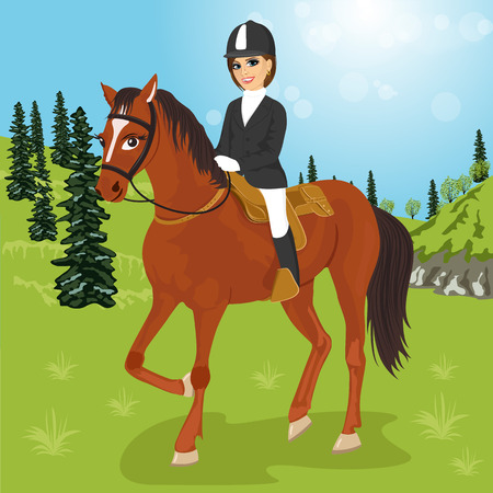 illustration of caucasian young woman sitting on a horse outdoors Illustration