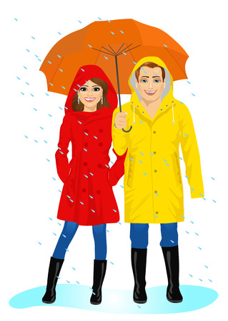 happy couple in raincoats standing with umbrella in the rain Illustration