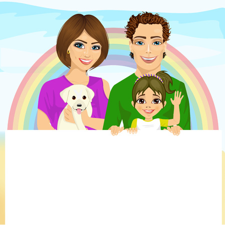family pet: cute happy family with pet dog holding a white blank billboard in front of rainbow Illustration
