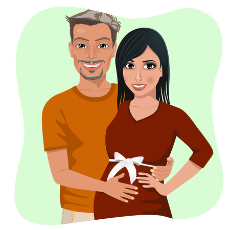 latin couple: latin couple - man touching his pregnant wife belly expecting baby