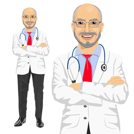 volwassen medische mannelijke arts met gevouwen wapens die over witte achtergrond