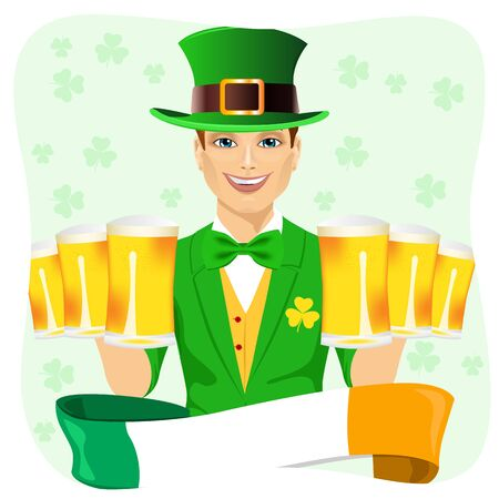 irish beer: young handsome man dressed as leprechaun celebrating Saint Patrick day holding six golden beer mugs with irish ribbon Illustration