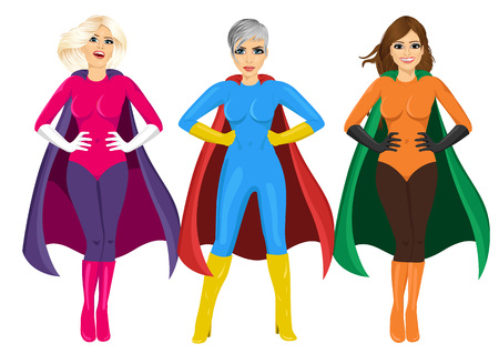 three beautiful girls in superhero costume standing with hands on hips isolated over white background Vectores