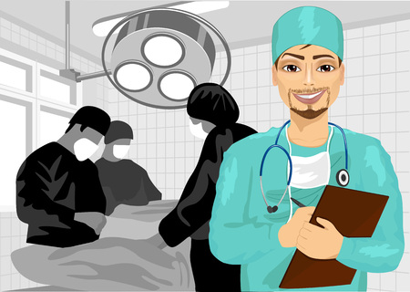 surgical nurse: young male surgical nurse in operating room holding clipboard Illustration