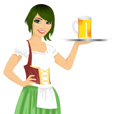 party tray: attractive waitress holding tray with beer mug for oktoberfest party