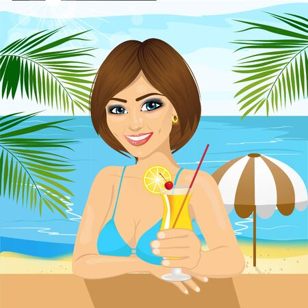 young woman sitting: young woman sitting at table at the beach drinking cocktail