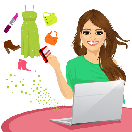 woman using laptop: woman shopping online using a laptop with her credit card buying some fashion goods Illustration