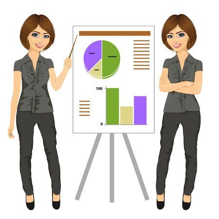 businesswoman standing: beautiful businesswoman standing near flip board pointing and explaining finances concept isolated over white background Illustration