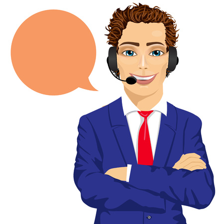 support phone operator: Portrait of youngmale customer support phone operator with arms folded and speech bubble