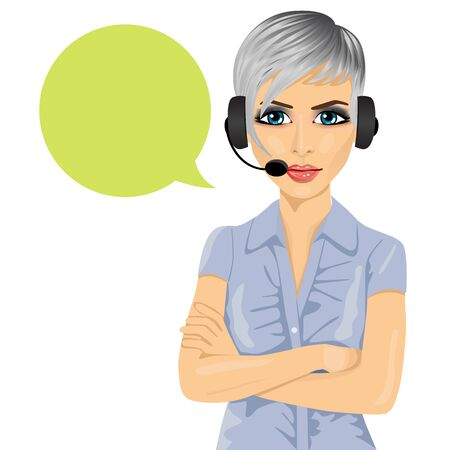 support phone operator: Portrait of confident female customer support phone operator with arms folded and speech bubble