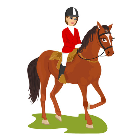 illustration of attractive young woman ridding horse isolated on white background