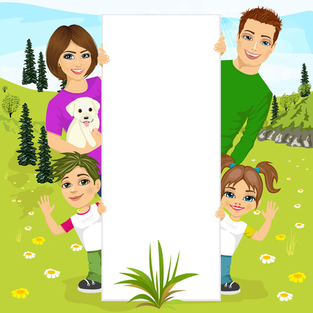 blank billboard: illustration of happy family behind a white blank billboard resting in nature