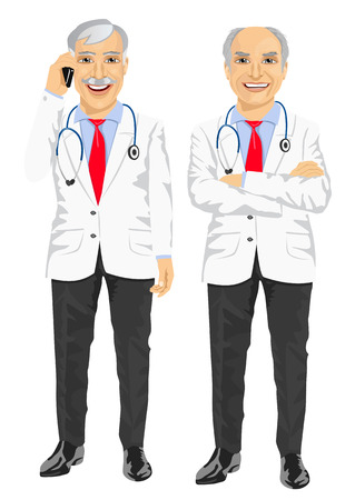 full length portrait of mature medical male doctor with arms folded talking on the phone Illustration