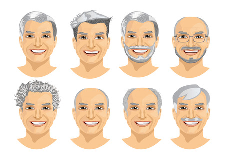 set of mature man avatar with different hairstyles isolated on white background Illustration