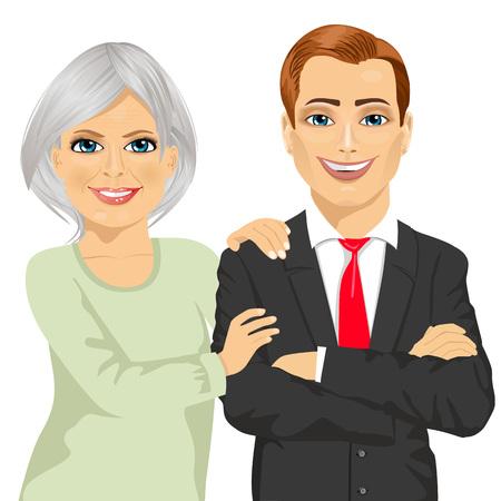 mãe feliz, abraçando seu filho vestido com terno de negócio em pé com os braços cruzados, isolado no fundo branco Ilustración de vector