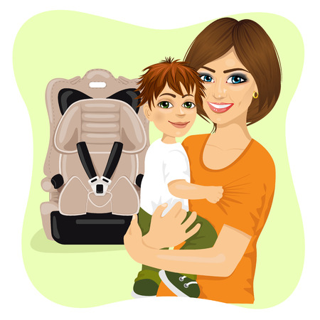 mother holding baby: portrait of young mother holding little boy next to baby car seat Illustration