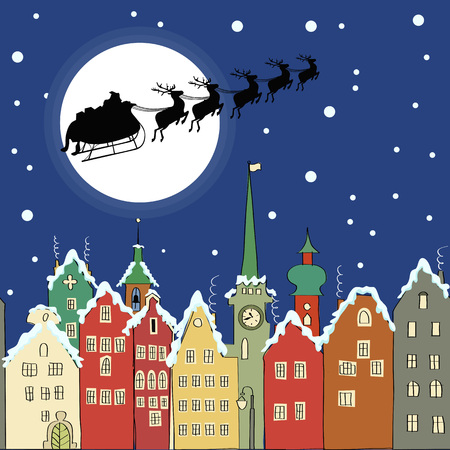 white winter: Santa Claus with reindeer sleigh through a Christmas night over fairytale town Illustration