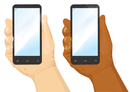 the caucasian: hand of caucasian and african american man holding black vertical smartphone isolated on white background Illustration