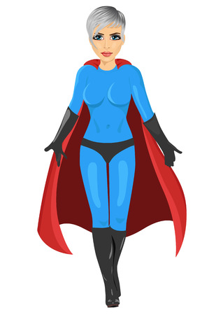 supergirl: beautiful girl in superhero costume walking forward isolated over white background
