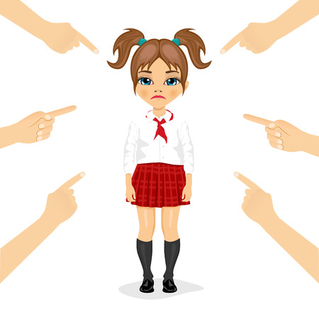 accused: pretty little schoolgirl  eing accused with fingers pointing at her isolated over white background