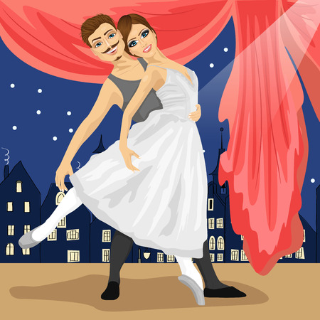 full length portrait: full length portrait of couple of ballet dancers posing over scenery with fairytale town