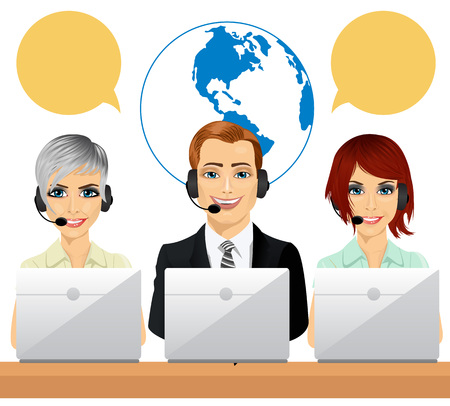 call centre: Happy call centre agents with speech bubbles talking on headsets using laptops