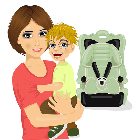 mother holding baby: portrait of young mother holding little boy with glasses near baby car seat