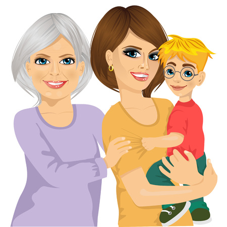 woman middle age: Portrait of happy grandma, mother and her son isolated on white background Illustration