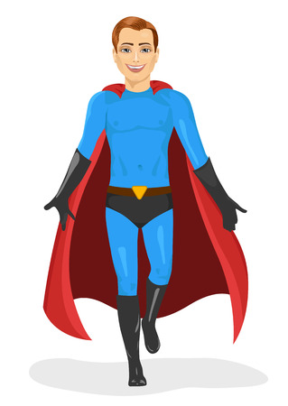 caped: handsome young man in blue superhero costume walking forward isolated over white background