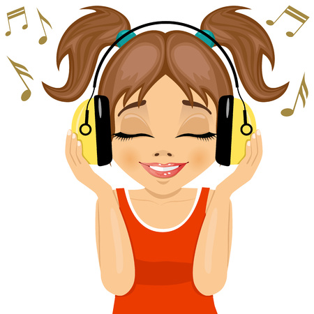 listening to music: little cute girl enjoys listening to music with headphones on white background