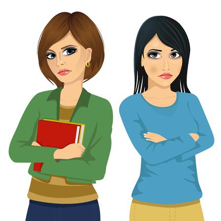Dos mujeres enojadas que miran el uno al otro por encima del hombro y sosteniendo sus brazos cruzados sobre fondo blanco Ilustración de vector