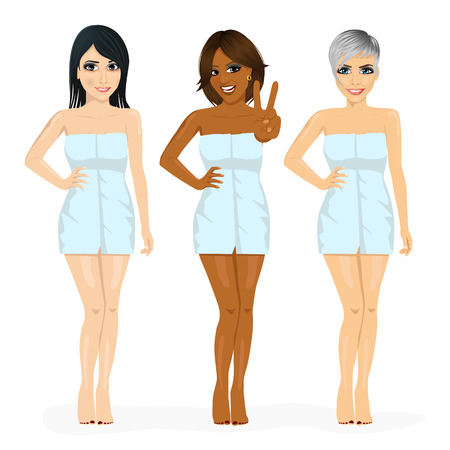 women body: three beautiful multiracial women with different skin tone color wrapped in blue towel isolated on white background